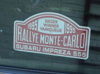 Subaru Impreza 555 1995 Monte Carlo Rally Winner Lick'n'Stick Window Sticker. 5