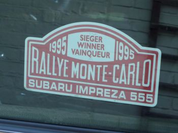 "Subaru Impreza 555 1995 Monte Carlo Rally Winner Lick'n'Stick Window Sticker. 5""."
