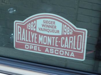 "Opel Ascona 1982 Monte Carlo Rally Winner Lick'n'Stick Window Sticker. 5""."
