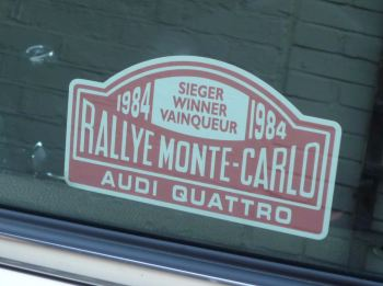 "Audi Quattro 1984 Monte Carlo Rally Winner Lick'n'Stick Window Sticker. 5""."