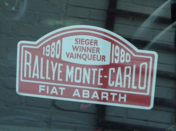 "Fiat Abarth 1980 Monte Carlo Rally Winner Sticker. 5""."