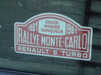 "Renault 5 Turbo 1981 Monte Carlo Rally Winner Lick'n'Stick Window Sticker. 5""."
