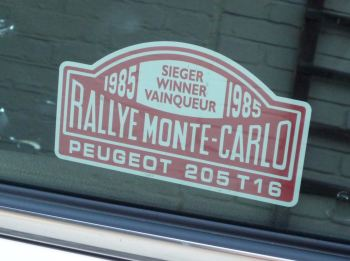 "Peugeot 205 T16 1985 Monte Carlo Rally Winner Lick'n'Stick Window Sticker. 5"" or 7""."