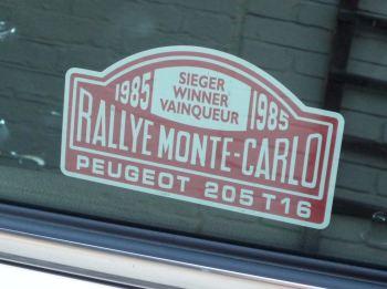 """Peugeot 205 T16 1985 Monte Carlo Rally Winner Lick'n'Stick Window Sticker. 5""""."""