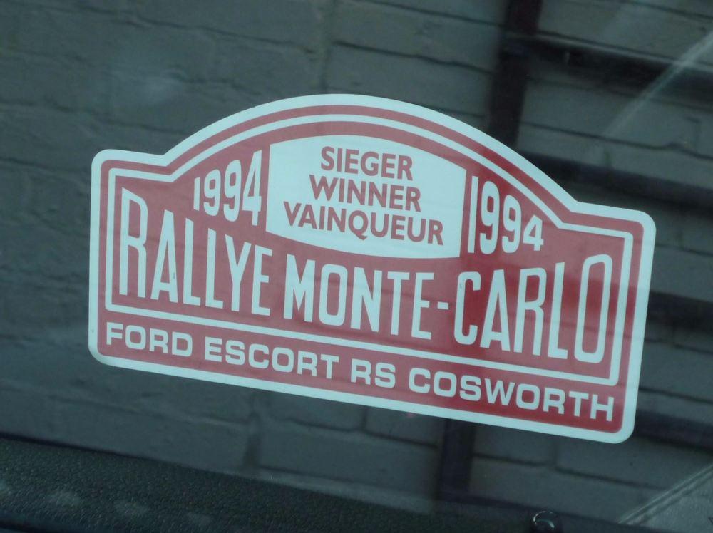 "Ford Escort RS Cosworth 1994 Monte Carlo Rally Winner Window Sticker. 5""."