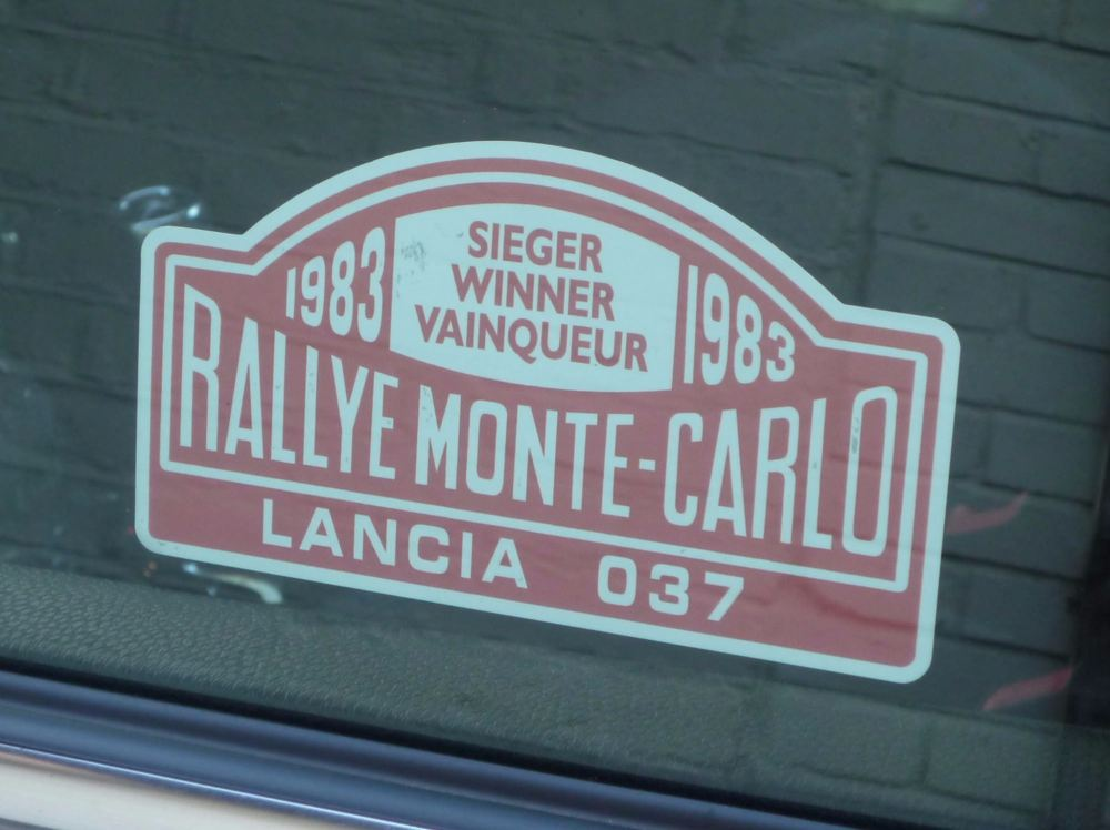 Lancia 037 1983 Monte Carlo Rally Winner Lick'n'Stick Window Sticker. 5