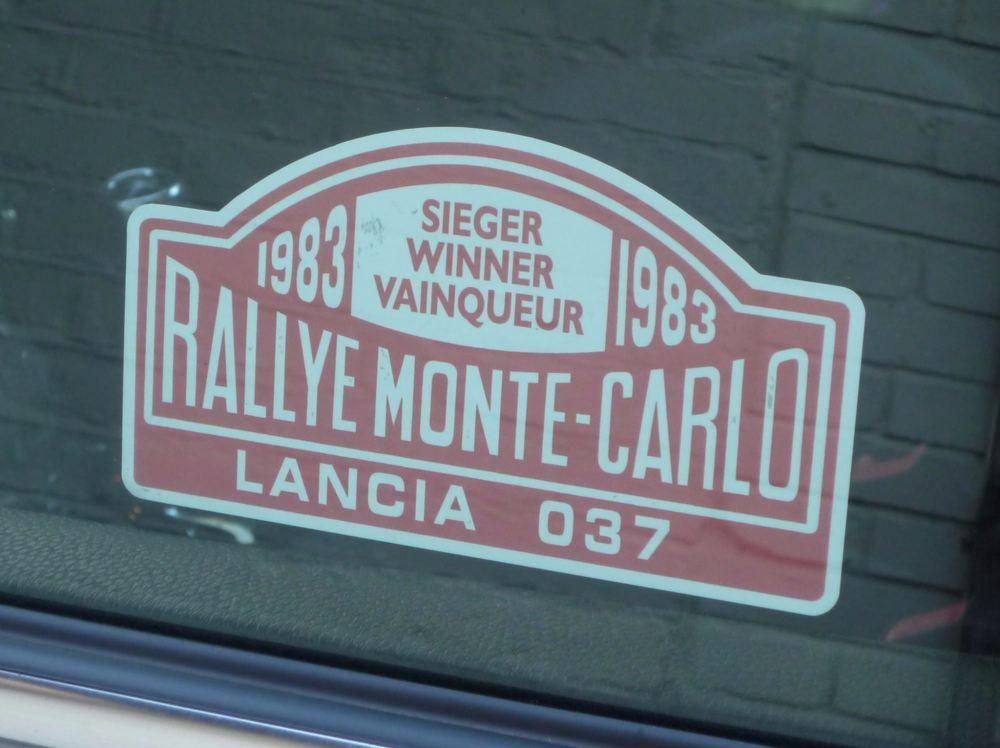"Lancia 037 1983 Monte Carlo Rally Winner Lick'n'Stick Window Sticker. 5""."
