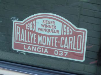 "Lancia 037 1983 Monte Carlo Rally Winner Lick'n'Stick Window Sticker. 5""."