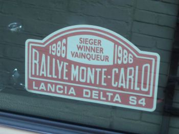 "Lancia Delta S4 1986 Monte Carlo Rally Winner Lick'n'Stick Window Sticker. 5""."