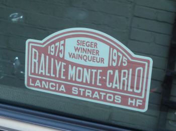 "Lancia Stratos HF Monte Carlo Rally Winner Window Sticker. Various Years. 5""."