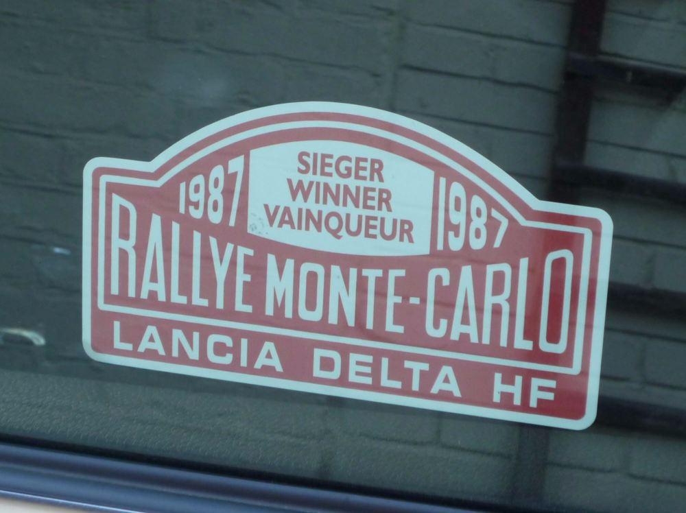 "Lancia Delta HF Monte Carlo Rally Winner Window Sticker. Various Years. 5""."