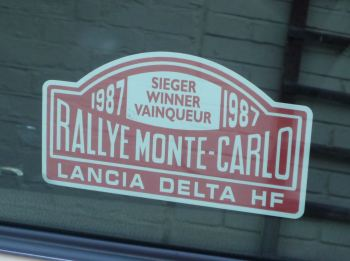 "Lancia Delta HF Monte Carlo Rally Winner Window Sticker. Various Years. 5""."