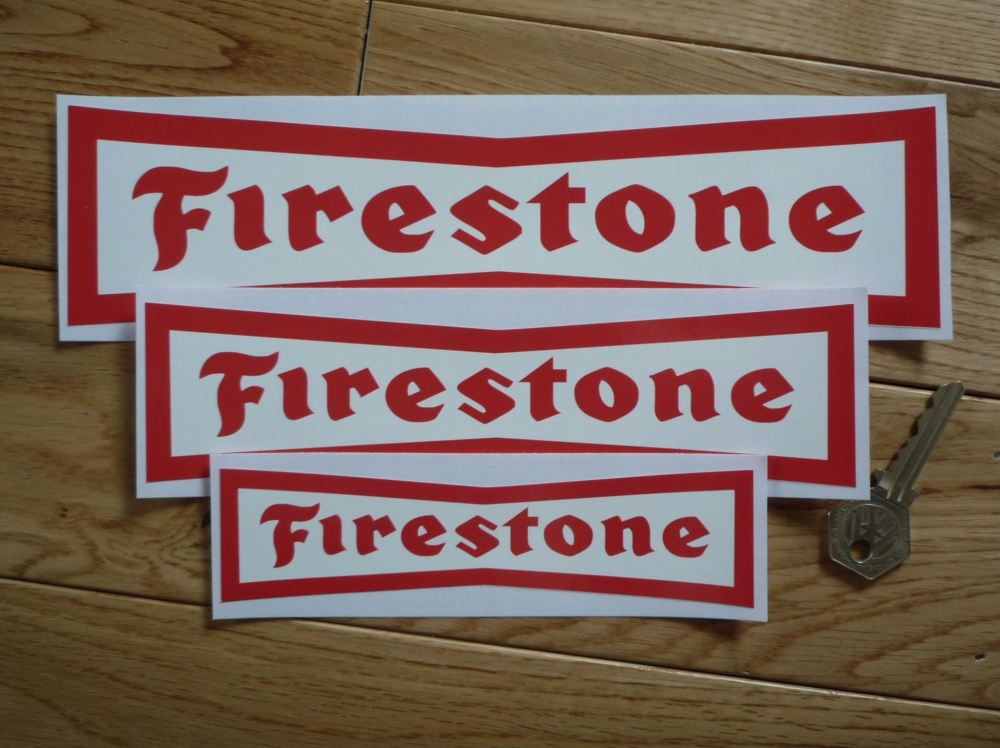 """Firestone Dicky Bow Red on White Stickers. 4"""", 6"""", 8"""", 10"""" or 12"""" Pair."""