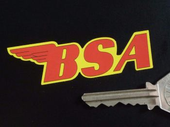"""BSA Shaped Red & Yellow Stickers. 3"""", 4"""" or 6"""" Pair."""
