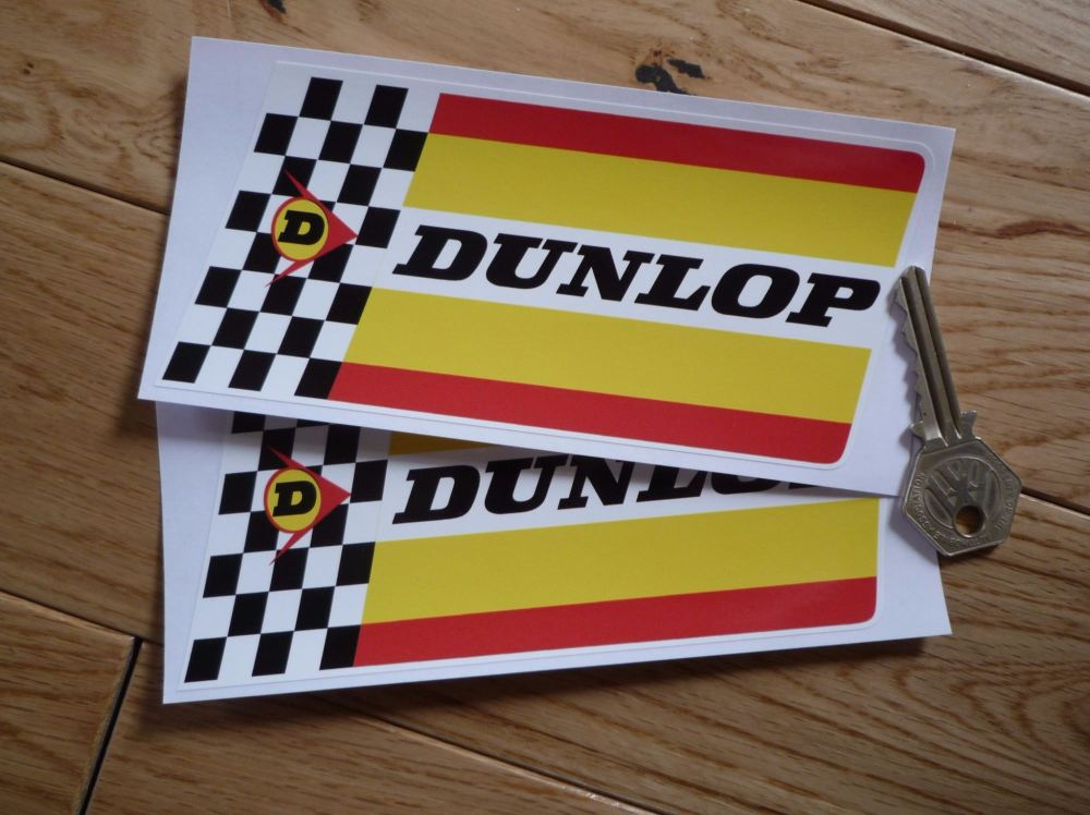 "Dunlop Extra Thick Check & Stripes, Sharp Edged, Stickers. 6"" Pair."