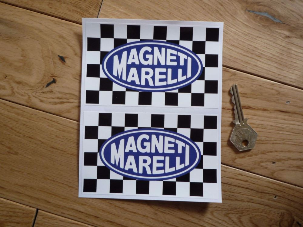 Magneti Marelli Oval on Oblong Chequered Flag Stickers. 5