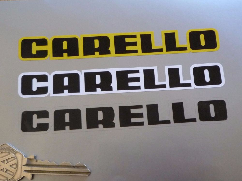 "Carello Shaped Text Black Centre Stickers. 5"" Pair."
