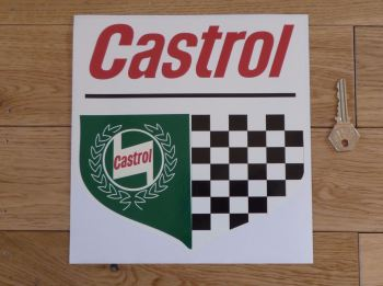 "Castrol Chequered Shield Off White Sticker. 8""."
