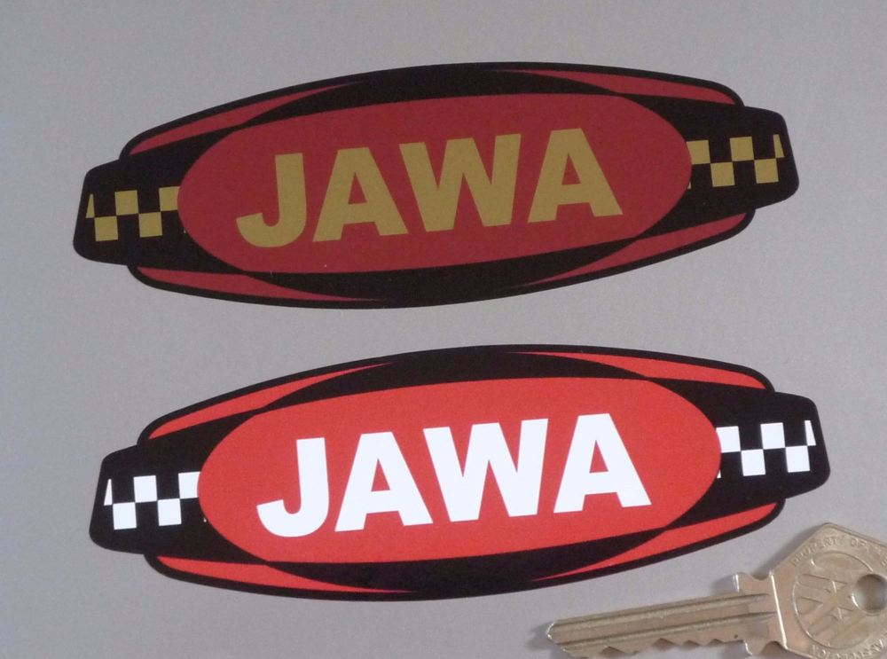 "Jawa Chequered Band Style Logo Sticker. 5""."