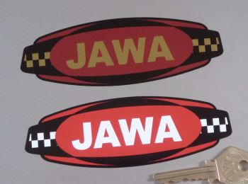"Jawa Chequered Band Style Logo Sticker. 5""."