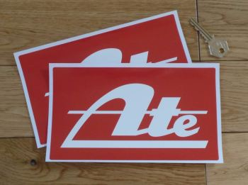 "ATE Red Oblong Stickers. 8"" Pair."
