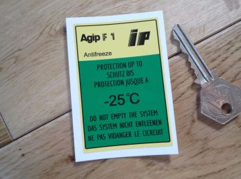 "Agip F1 IP Antifreeze Sticker. 3""."