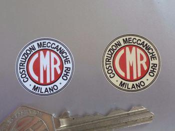 """CMR Costruzioni Meccaniche Rho Milano Stickers. Set of 5. 1""""."""
