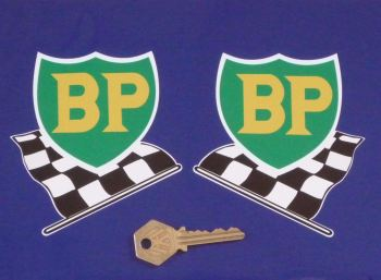 "BP '58 - '89 Shield & Chequered Flag with White Border Stickers. 4"", 6"", or 8"" Pair."