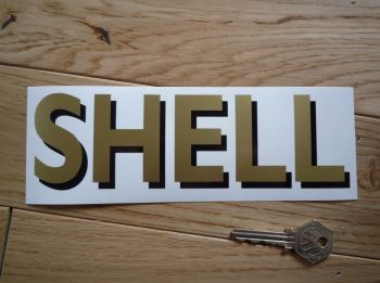 """Shell Shaded Style Cut Text Sticker. 8""""."""