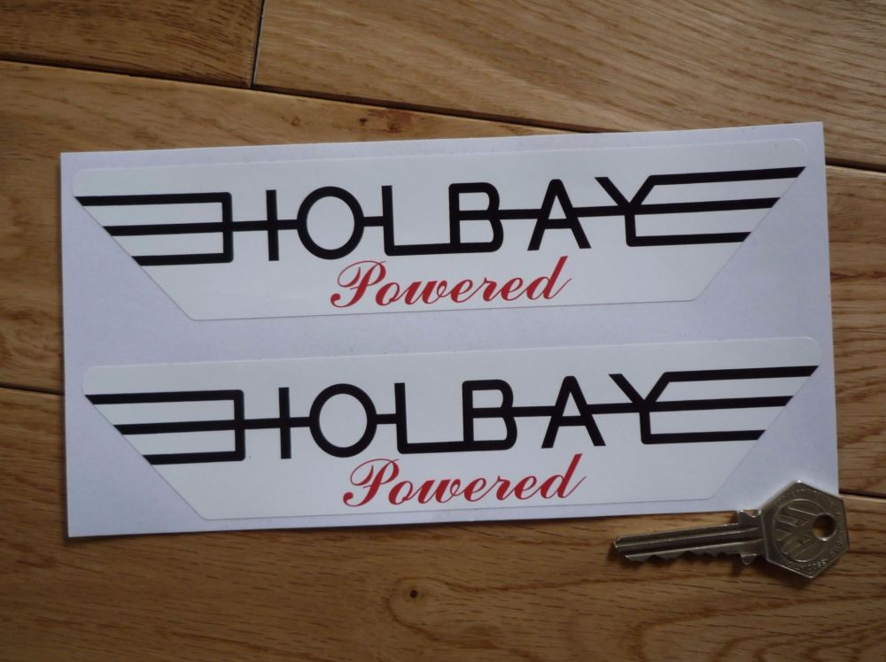 """Holbay Powered Winged Red, Black, & White Stickers. 8"""" Pair."""