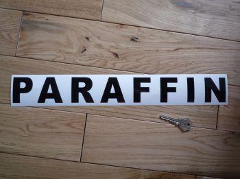 "Paraffin Cut Text Petrol Pump Sticker. 16""."