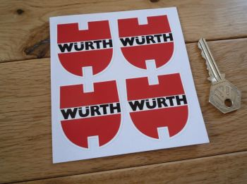Wurth Shaped Racing Stickers. Set of 4. 50mm.