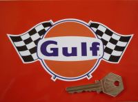 Gulf Logo & Double Chequered Flags Sticker. 6