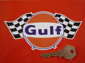 "Gulf Logo & Double Chequered Flags Sticker. 6"", 8"", or 10""."