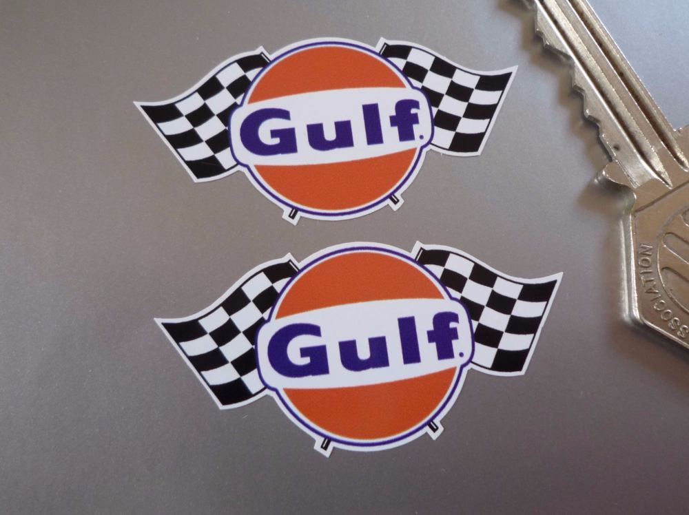 """Gulf Logo & Double Chequered Flags Stickers. 2"""" or 4"""" Pair."""