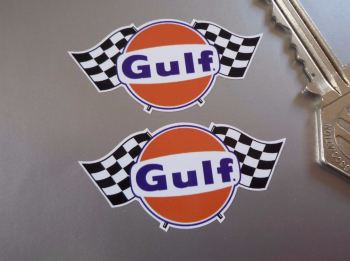 "Gulf Logo & Double Chequered Flags Stickers. 2"" or 4"" Pair."