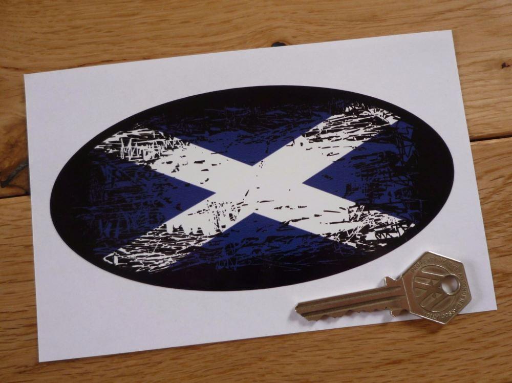 "Scottish Saltire Flag Fade To Black Oval Sticker. 6""."