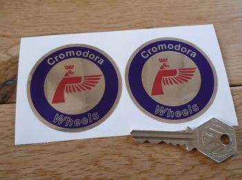Cromodora Wheels Round Stickers. Red, Blue & Mirrored Foil. 50mm or 60mm Pair.