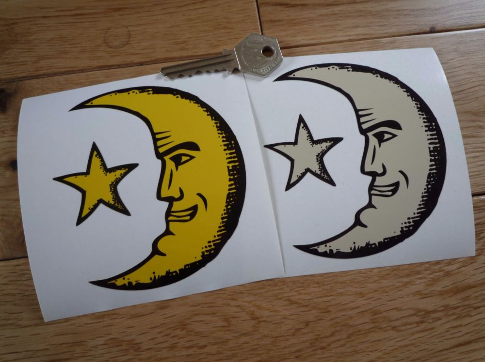 "Moon Face & Star Sticker. 4""."