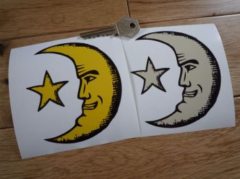 "Moon Face & Star Sticker. 4""."