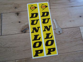 "Dunlop Fork Slider Stickers. Black, Yellow, & Red. 8.25"" Pair."