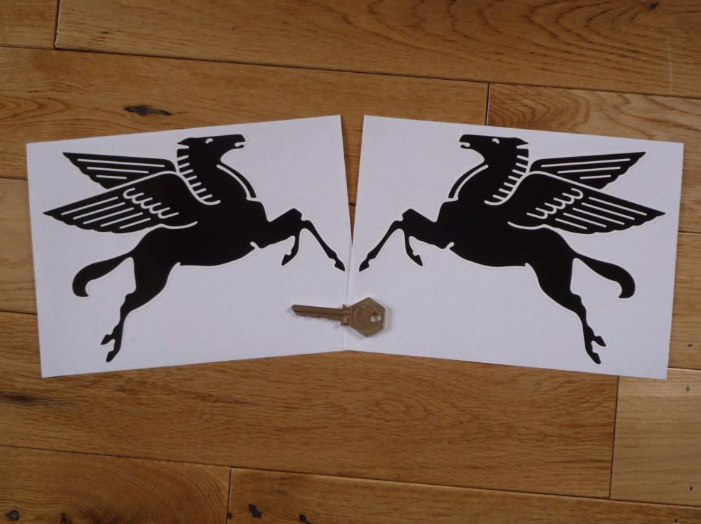 """Mobil Later Pegasus Shaped Black & White Stickers. 4"""", 6"""", or 8"""" Pair."""