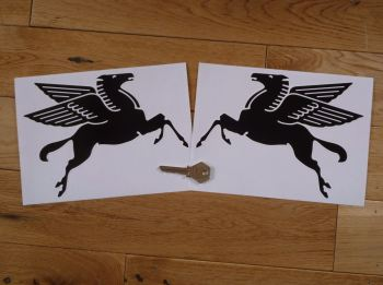 "Mobil Later Pegasus Shaped Black & White Stickers. 4"", 6"", or 8"" Pair."