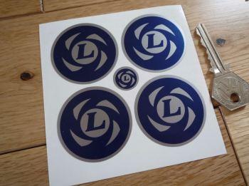 British Leyland Wheel Centre Stickers - Blue & Silver - 25mm, 35mm, 45mm, or 48mm