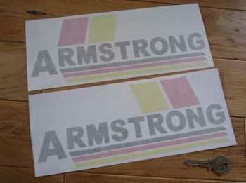 "Armstrong Motorcycle Yellow, Red, & Black, Cut Vinyl Stickers. 10.5"" handed Pair."