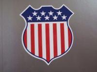 "USA Stars & Stripes Shield Style Sticker. 4""."