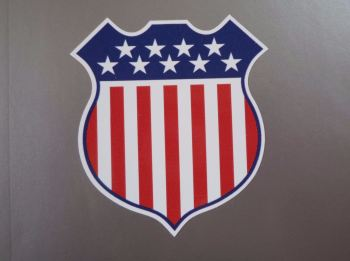 "USA Stars & Stripes Shield Style Sticker. 4""."