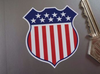 "USA Stars & Stripes Shield Style Stickers. 2"" Pair."