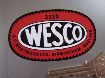 Wesco Birmingham, England, Oil Can Oval Stickers - Various Sizes