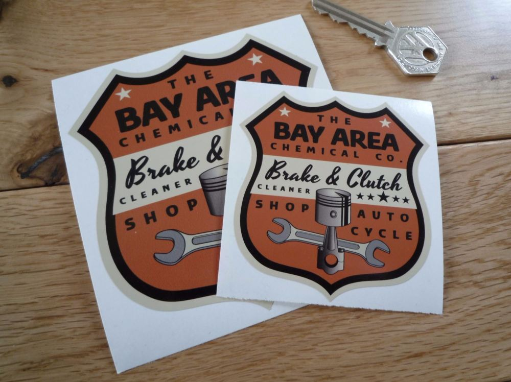 """Bay Area Chemical Co. Brake & Clutch Cleaner Shield Sticker. 3"""" or 4""""."""